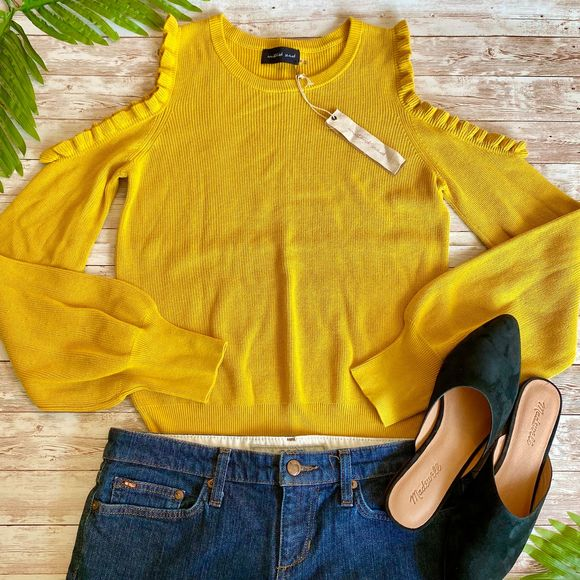 Mustard Seed Cold Shoulder Ruffle Sweater